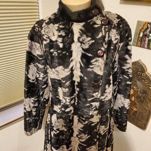 Vintage black and cream faux fur coat